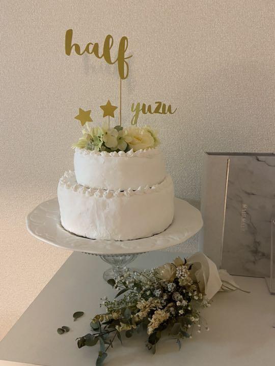 メルカリ ケーキトッパー ハーフバースデー ゴールド 星付き 行事 記念品 800 中古や未使用のフリマ