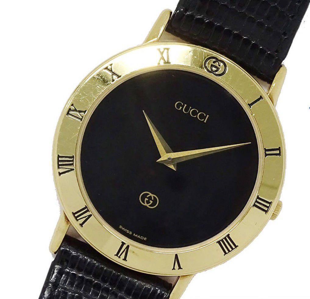eb1593cad078 メルカリ - レア グッチヴィンテージ時計 黒 GUCCI 【腕時計(アナログ ...