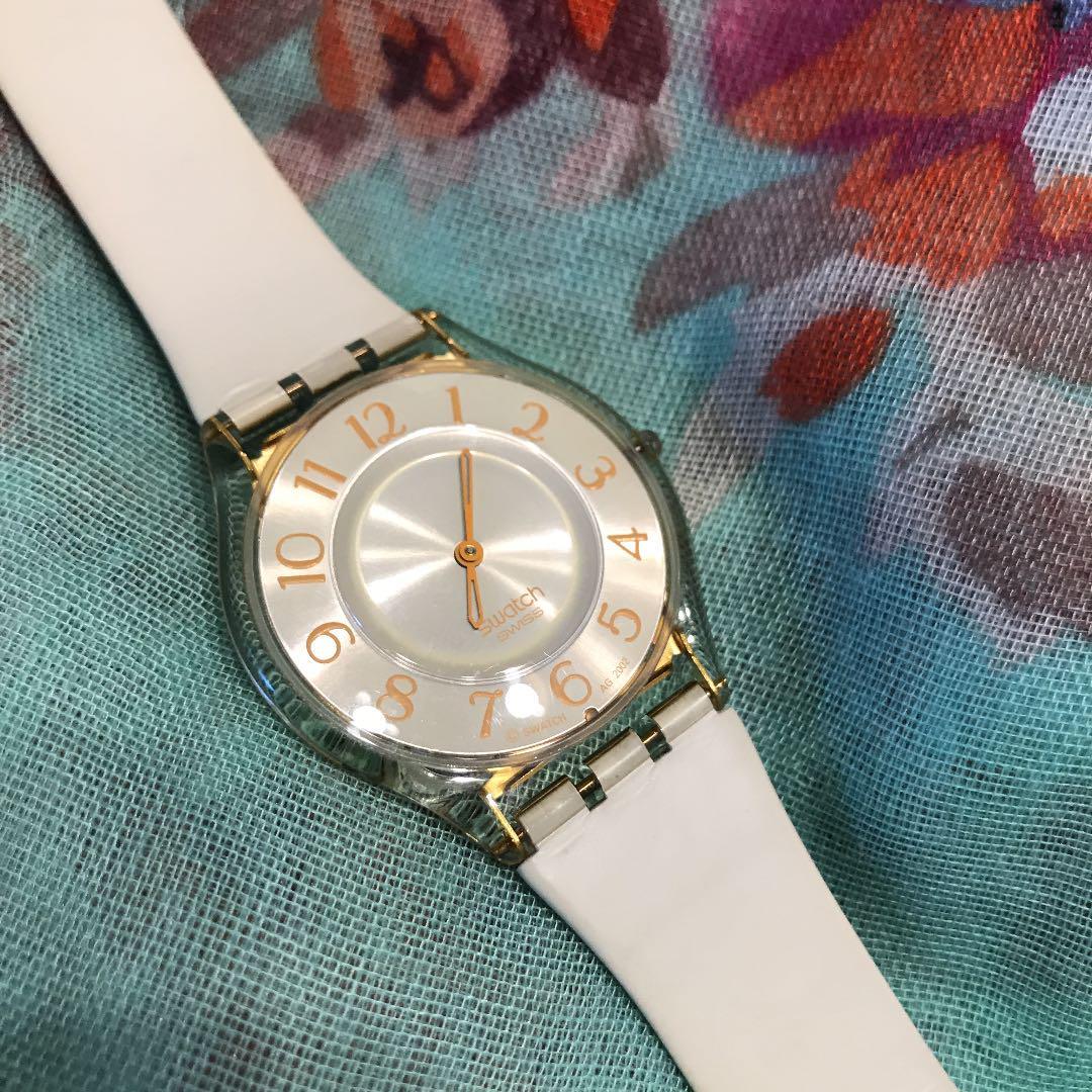 new product bfad1 e27e9 スウォッチ*白×ゴールド×スケルトン*軽い*腕時計(¥1,400) - メルカリ スマホでかんたん フリマアプリ