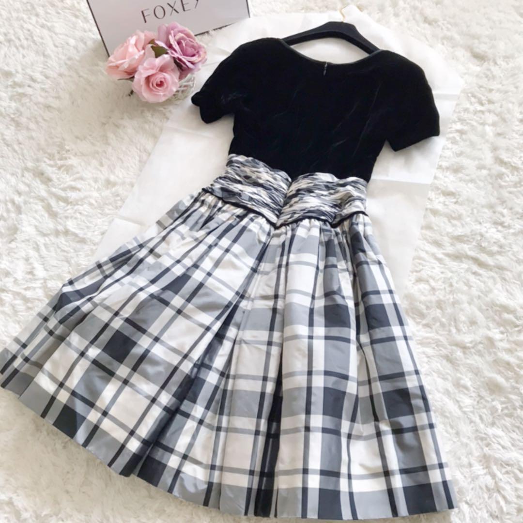新品♡定価18万円 FOXEY ベロア×チェックワンピース ドレス 42