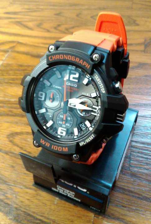 28d66d3537 メルカリ - 新品 CASIO クロノグラフ MCW-100H-4AV オレンジ 【腕時計 ...