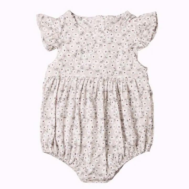 c8a87719a4bfa メルカリ - ベージュ70・赤ちゃん花柄ベビーロンパースインポート子供服 ...