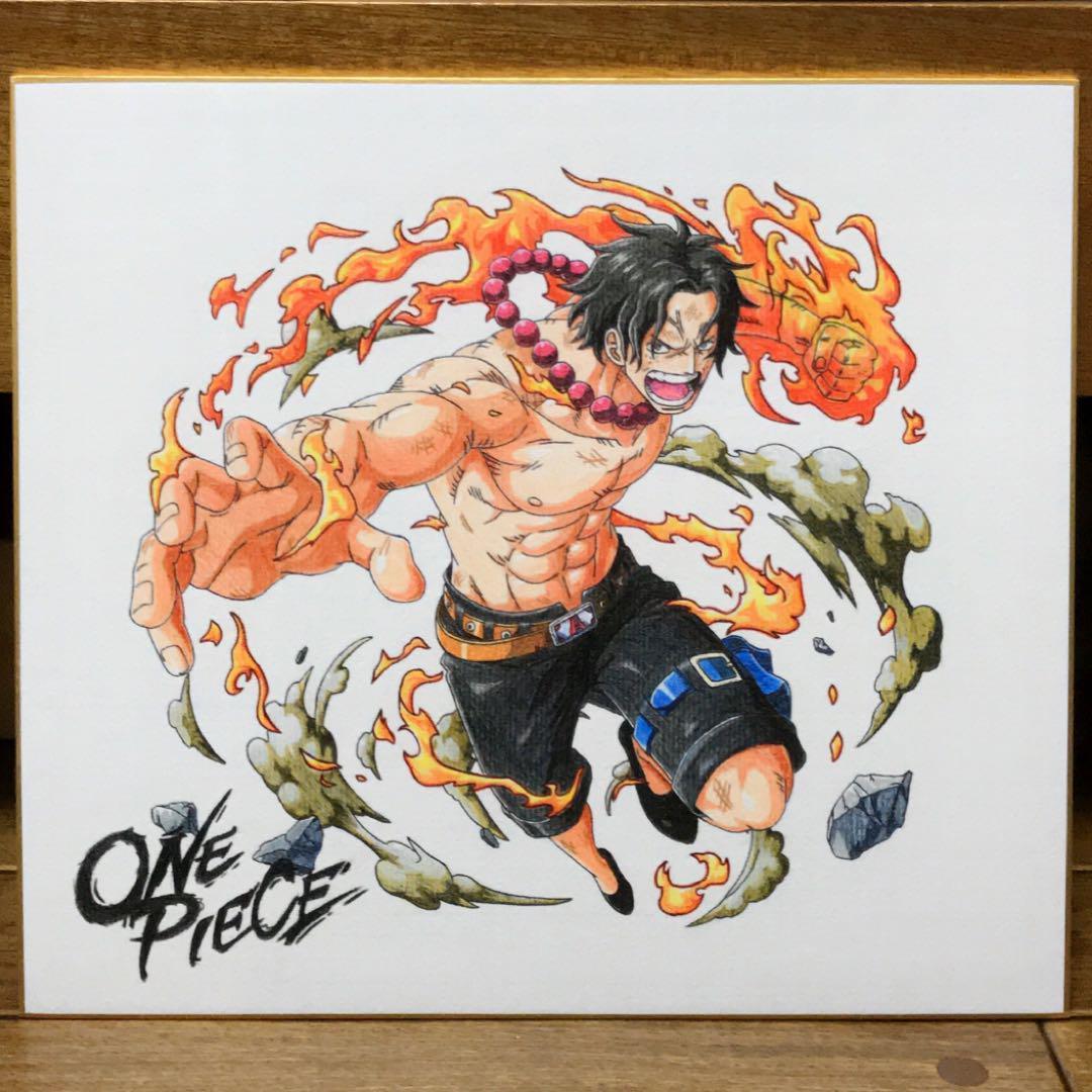 メルカリ One Piece イラスト エース 火拳 マリンフォード編 色紙