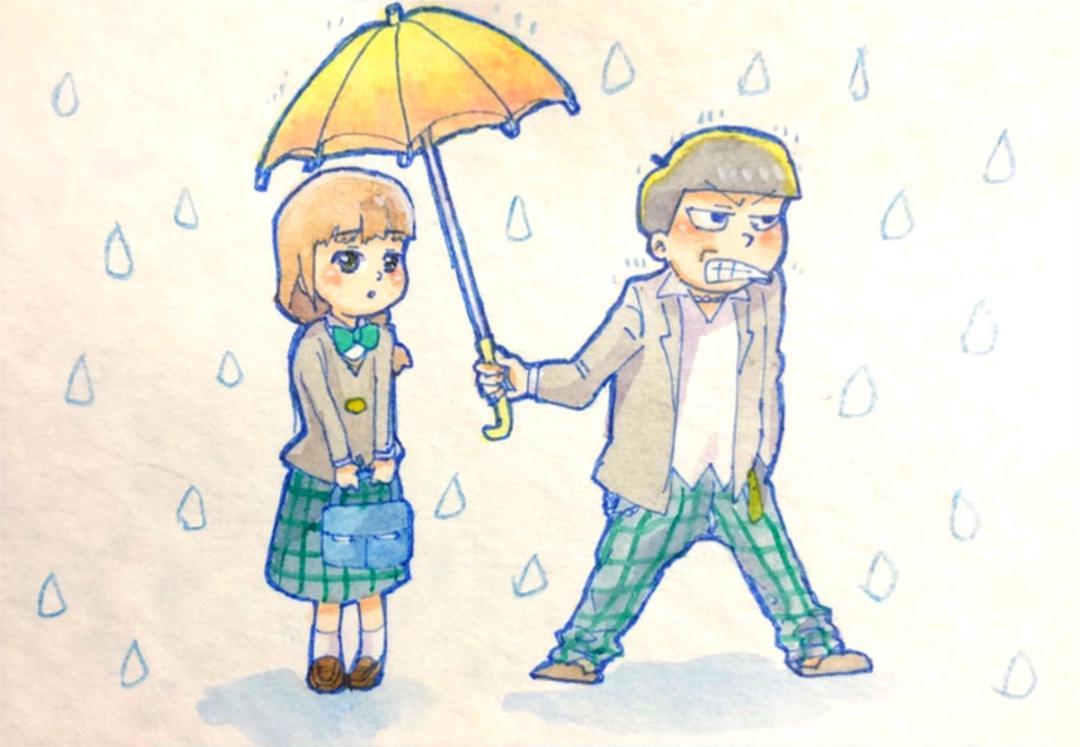 メルカリ 手描きイラスト おそ松さん 高校生十四松彼女ちゃん創作