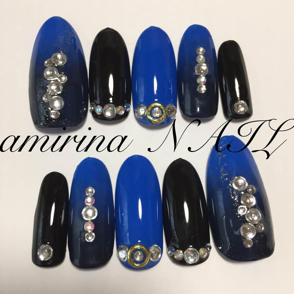 青☆黒☆グラデーション☆ネイルチップ(¥700) , メルカリ スマホでかんたん フリマアプリ