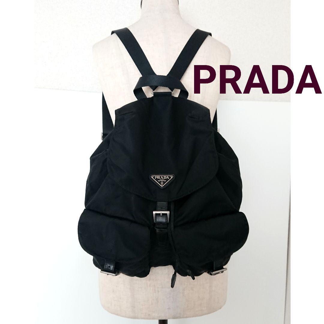 f82a9964c264 メルカリ - 良品 プラダ 大きめ リュック バッグ ナイロン レザー 黒 ...