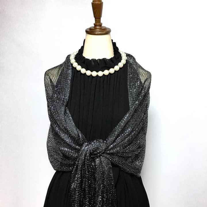 72e5aba58fc36 メルカリ - 新品 ラメラメ結婚式ショール ブラック フォーマル  ドレス ...