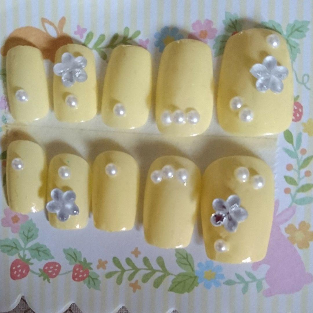 ネイルチップ☆レモンカラーお花パール
