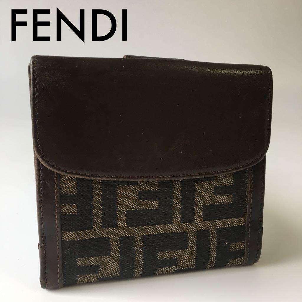 half off b476c c84d0 フェンディ FENDI ズッカ柄 二つ折り財布 レザー キャンパス 正規品(¥4,000) - メルカリ スマホでかんたん フリマアプリ