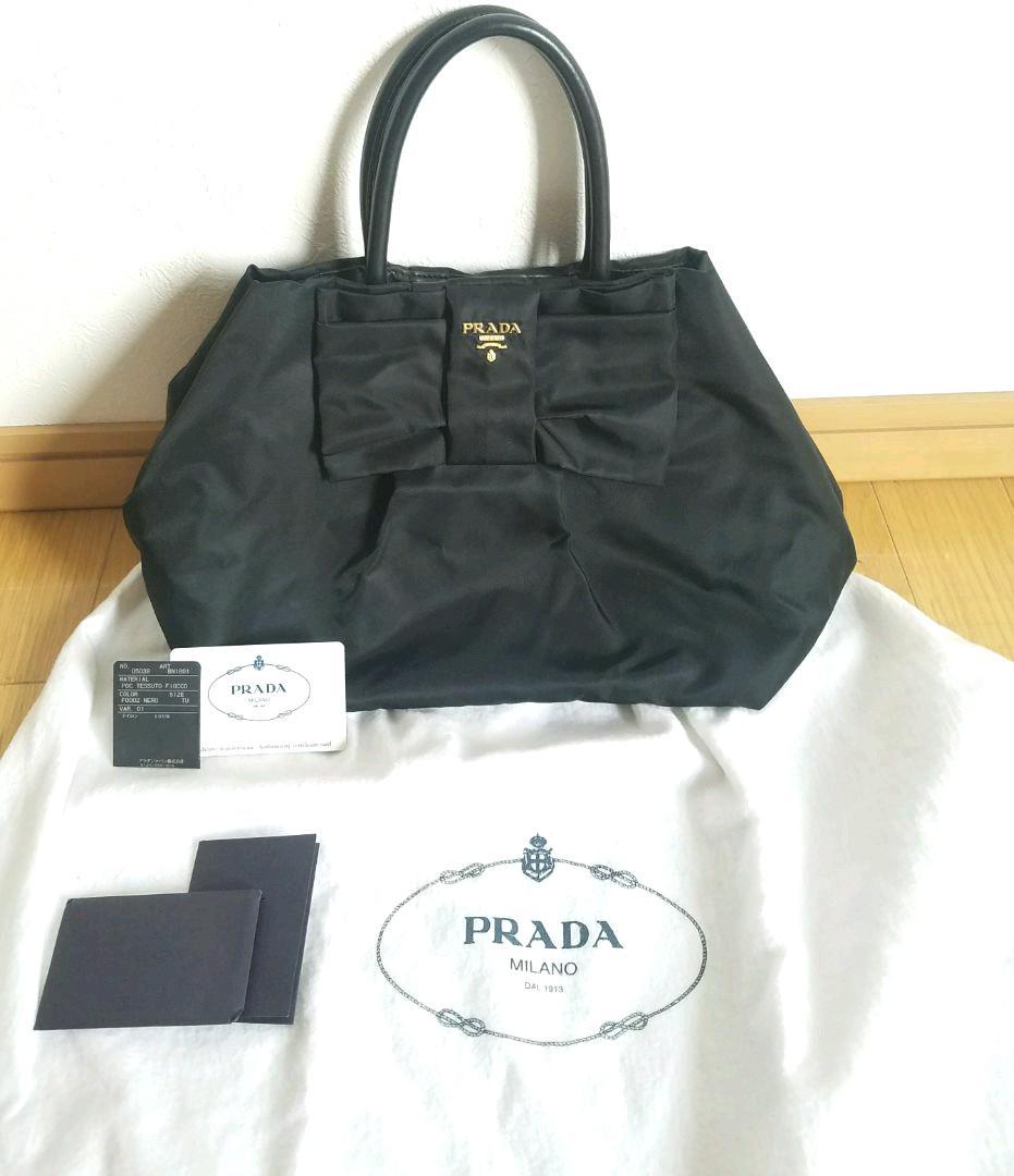 58949b120190 メルカリ - PRADA プラダ トートバッグ リボン ハンドバッグ 【プラダ ...
