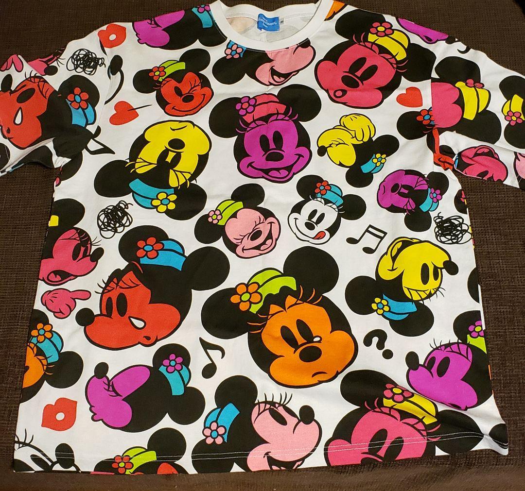 6ce2c39ddc510 メルカリ - ディズニー ミッキー総柄 Tシャツ L   3XL Disney 2枚セット ...
