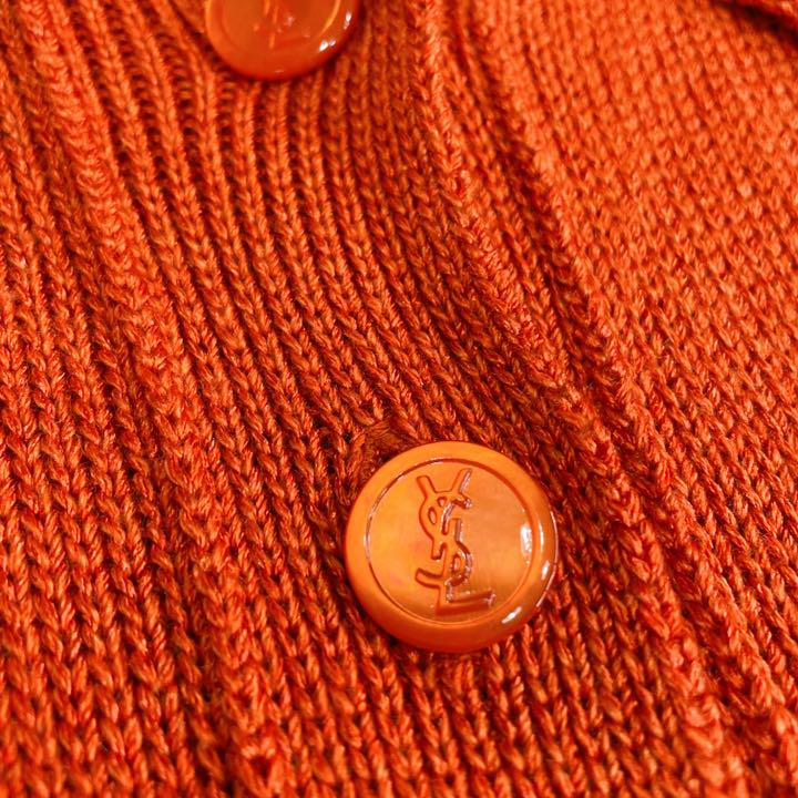 イヴサンローラン シルク カーディガン ウール ロゴボタン 襟 ニット ロング