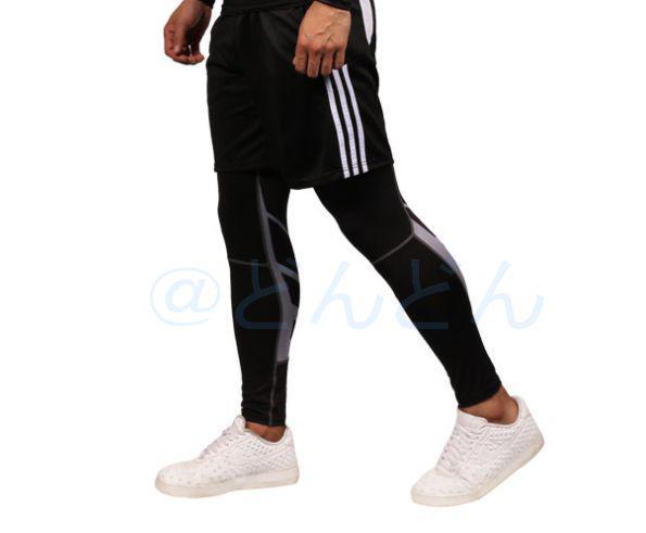 6a08a77c893f5 メルカリ - 新品 メンズ ランニングタイツ レギンス スパッツ 黒×グレー ...