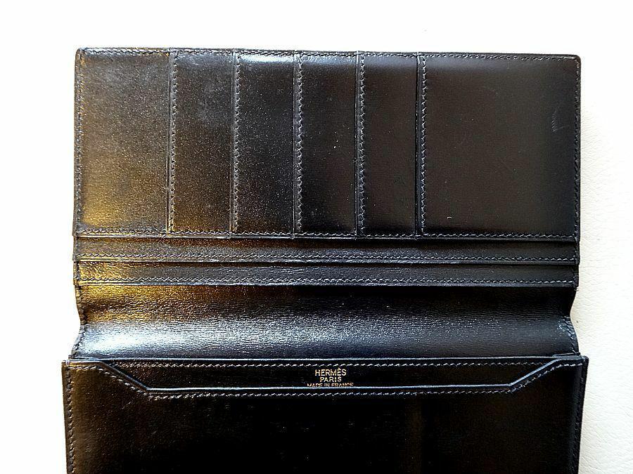 1929002558d2 メルカリ - HERMES エルメス 長財布 札入れ メンズ 黒 ブラック □D刻印 ...