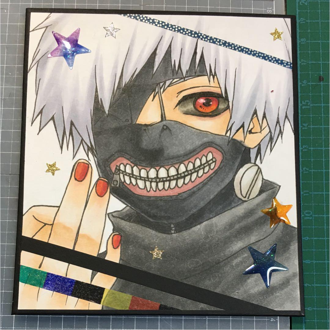 メルカリ 手描きイラスト 東京喰種 白カネキ アート写真 555
