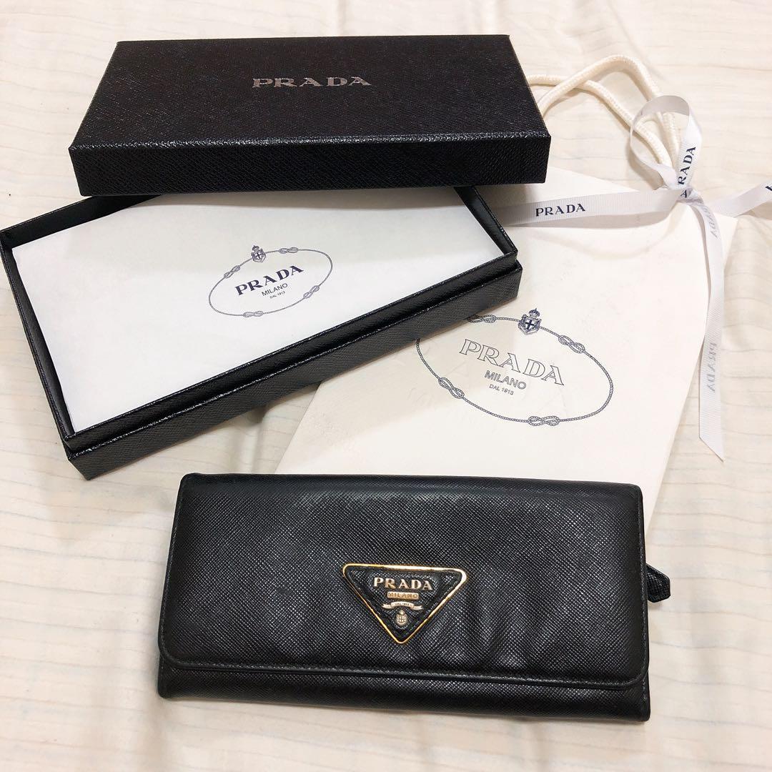 4af230eaf319 メルカリ - PRADA 長財布 黒 ブラック メンズ レディース 美品 【プラダ ...