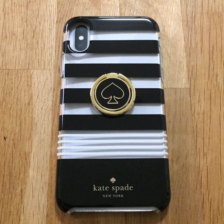 9c5a790706 メルカリ - ケイトスペード iPhoneX/XS ケース リング付 ボーダー ...
