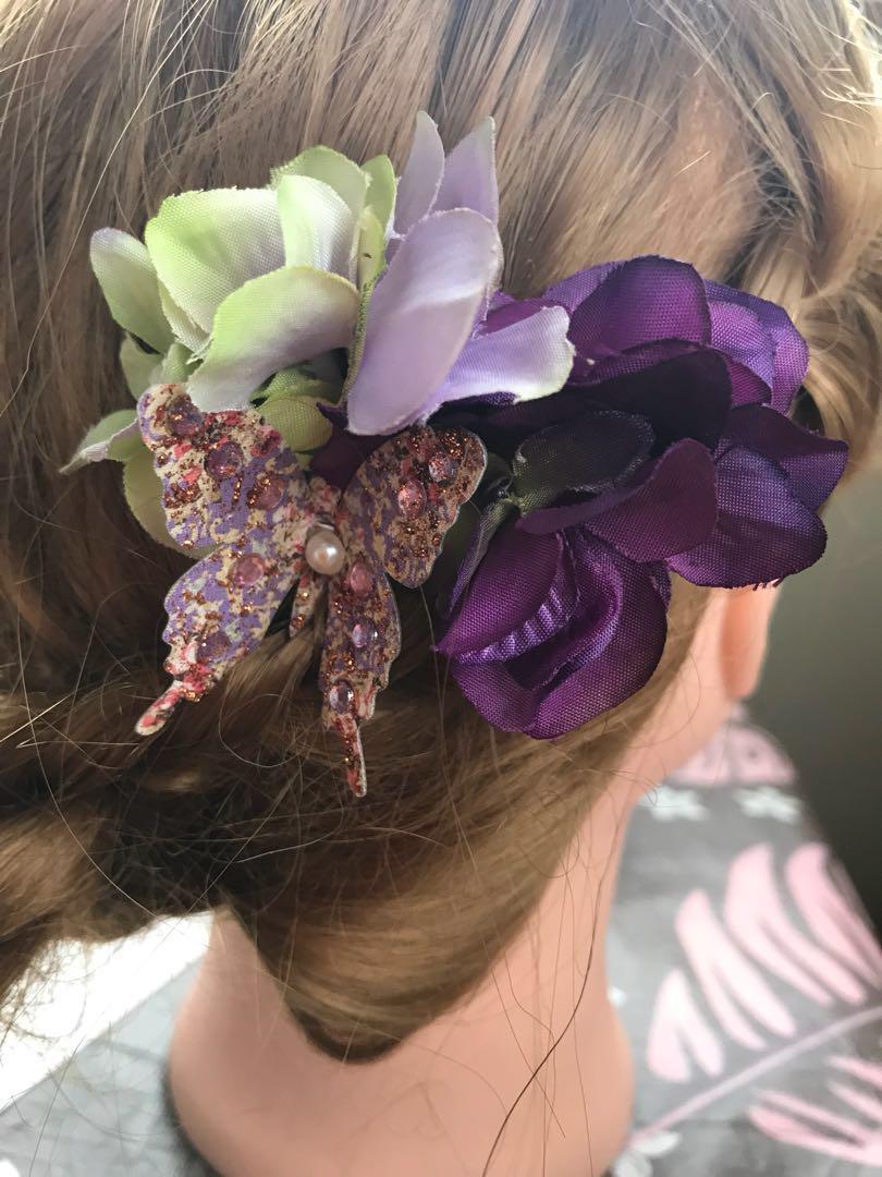f6ad692102b6b0 メルカリ - 再販❁髪飾り 蝶×紫陽花 ミニクリップヘアピン (¥1,400) 中古 ...