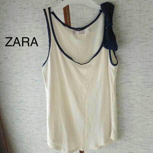 63635f4a83df8 メルカリ - Zara Baric タンクトップ 肩リボン  ザラベーシック  (¥450 ...