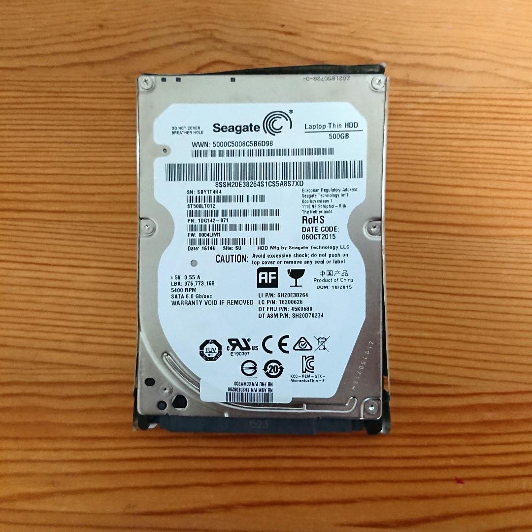 seagate 2.5インチ 500GB HDD