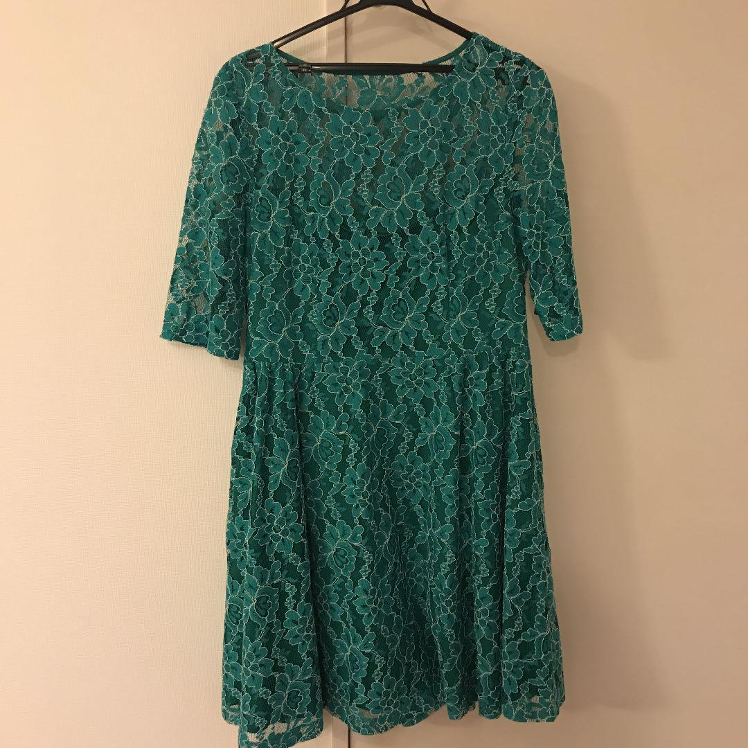 メルカリ 結婚式 ドレス 緑 ひざ丈ワンピース 1 700 中古や未