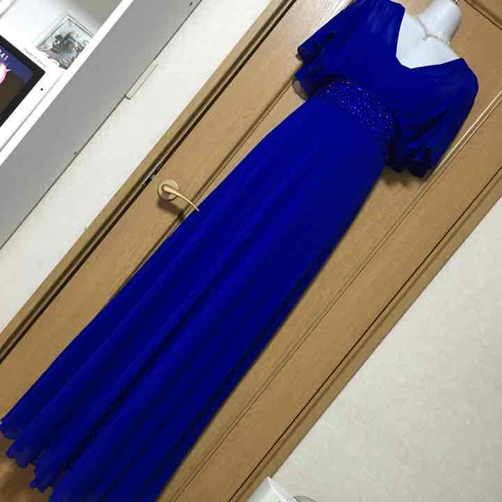 新品!ビジュー袖ありロングドレス ロイヤルブルー(¥3,500) , メルカリ スマホでかんたん フリマアプリ