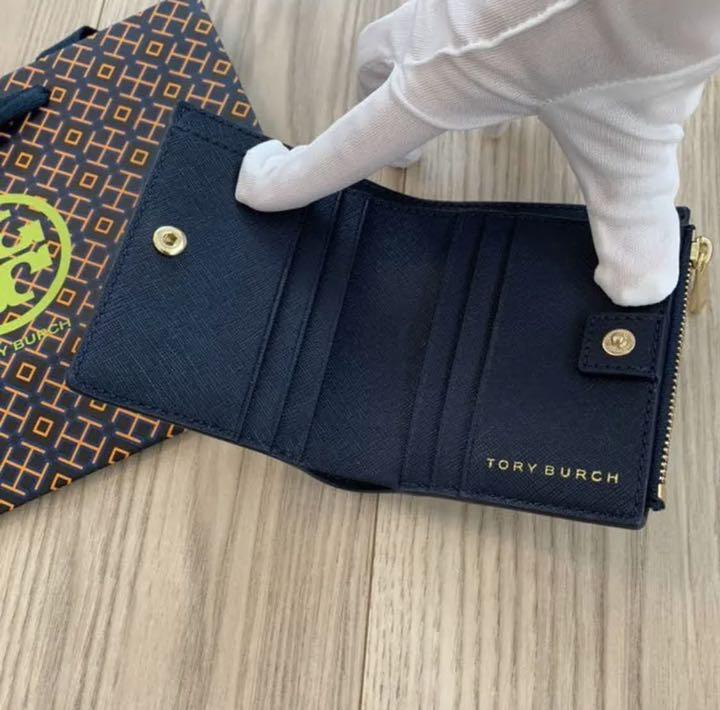 promo code 7dfcc 60804 トリーバーチ 折財布 二つ折り 紺 ネイビー ミニウォレット 旅行用 ミニ財布(¥12,000) - メルカリ スマホでかんたん フリマアプリ