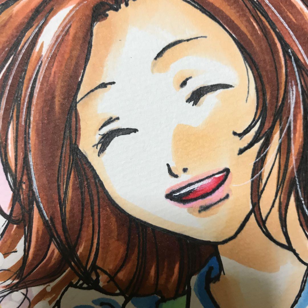 メルカリ 手描きイラスト 女の子 笑顔 アート写真 800 中古や