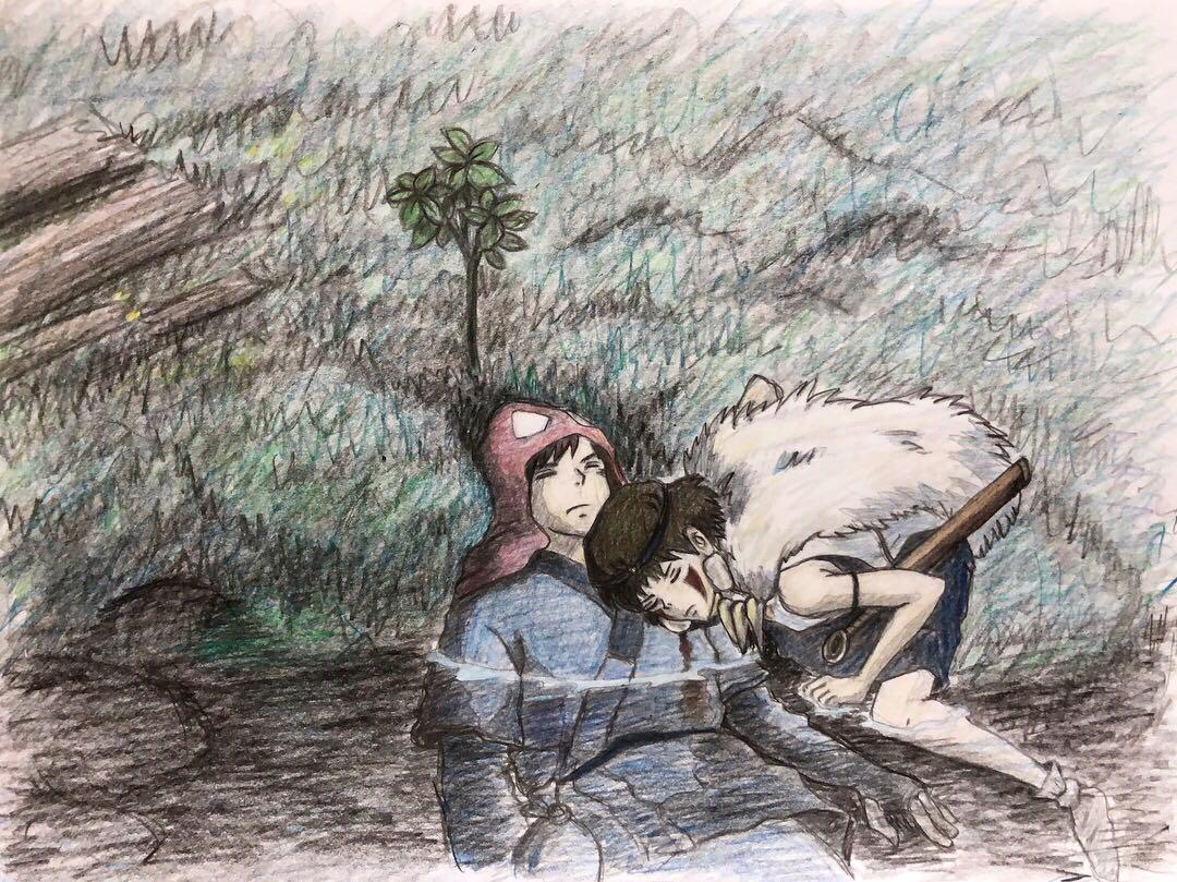 メルカリ もののけ姫 手書きイラスト サンとアシタカ 絵画