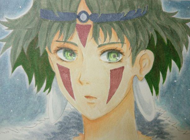 メルカリ もののけ姫サン 手描きイラスト アート写真 1350