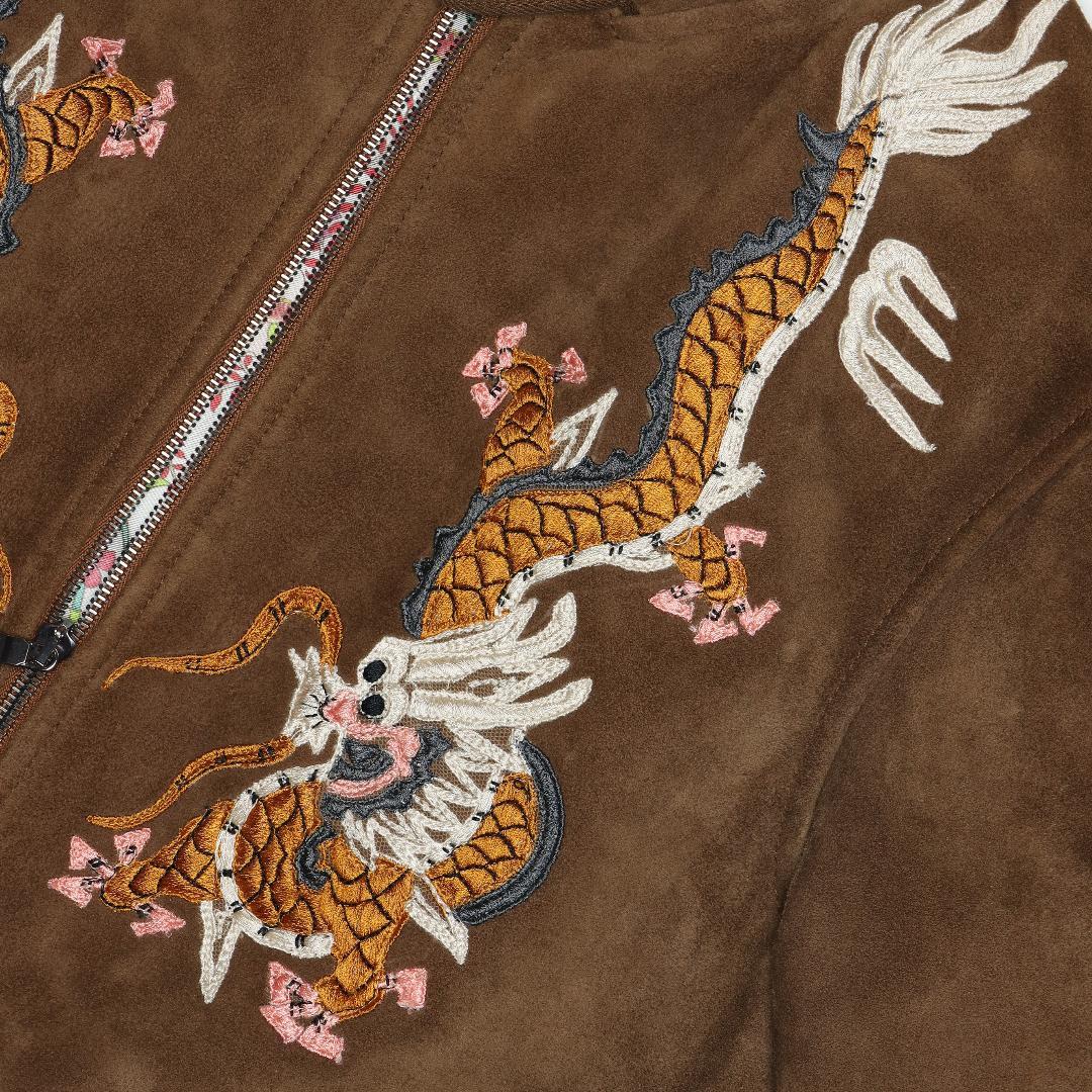 GUCCI国内正規品17AWドラゴン刺繍スエードレザージャケット48