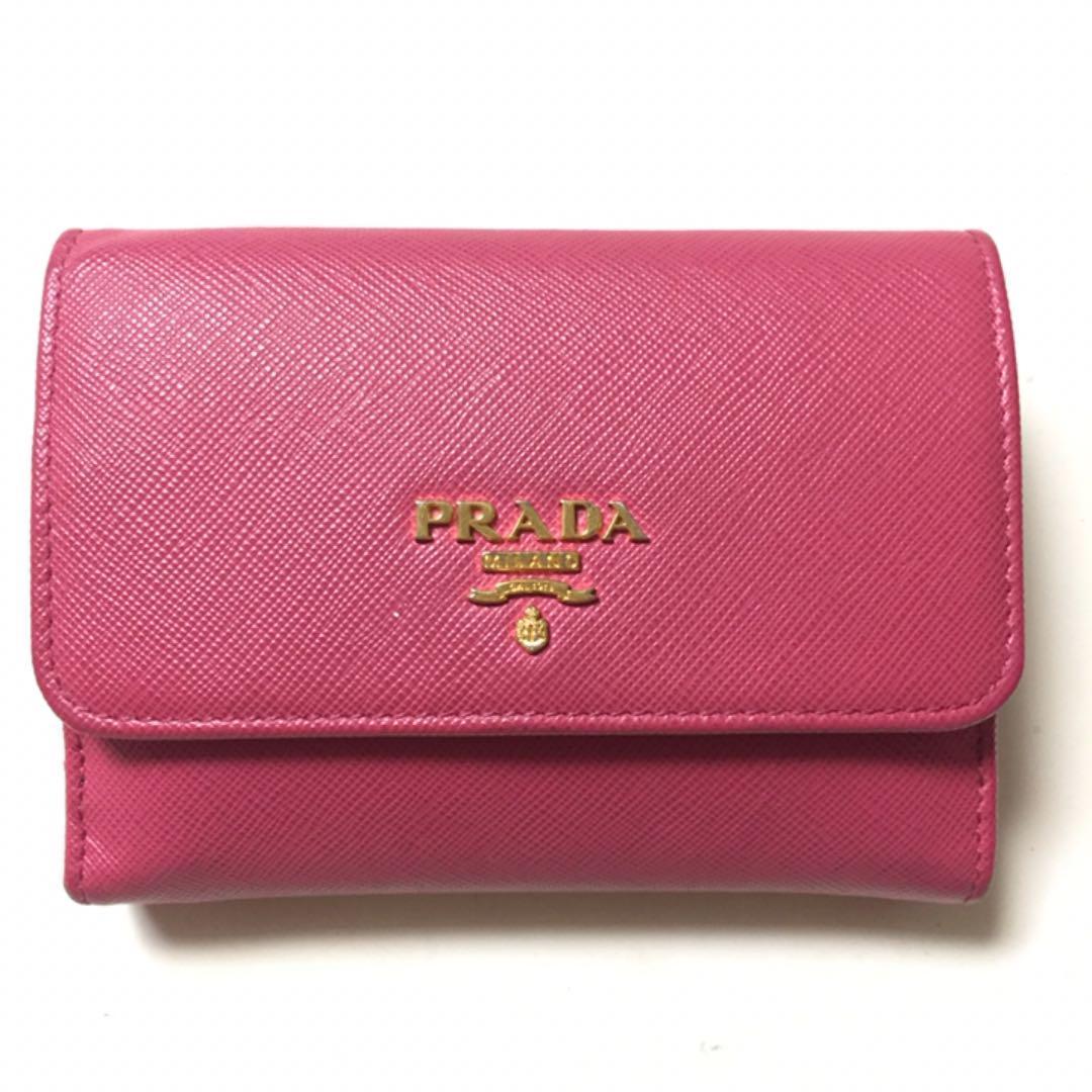 584eaee73b84 メルカリ - PRADA プラダ 二つ折り財布 ピンク サフィアーノ マルチカラー ...