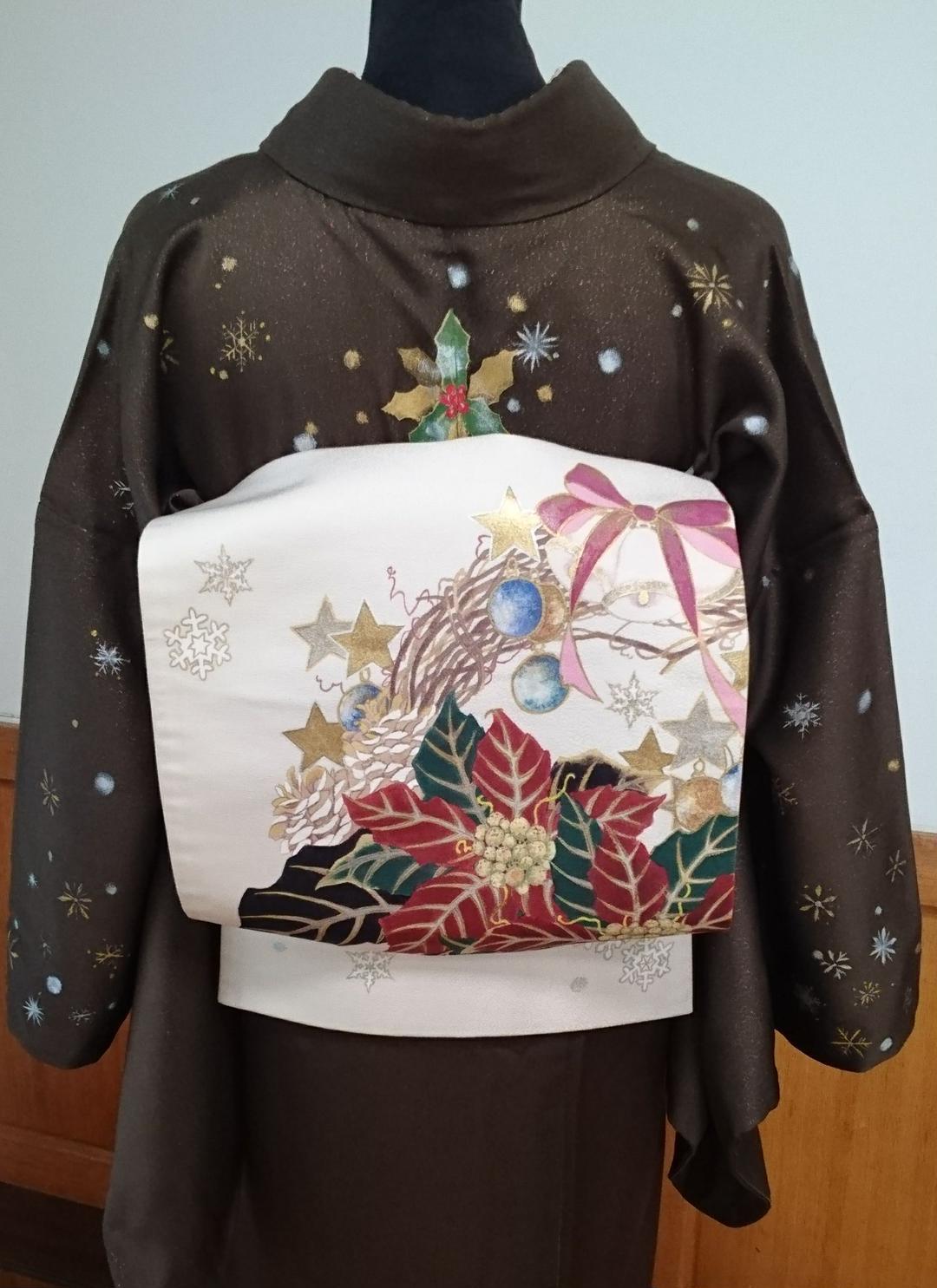 大変豪華です☆  「クリスマス」手描き本仕立て袋帯  新品・未使用
