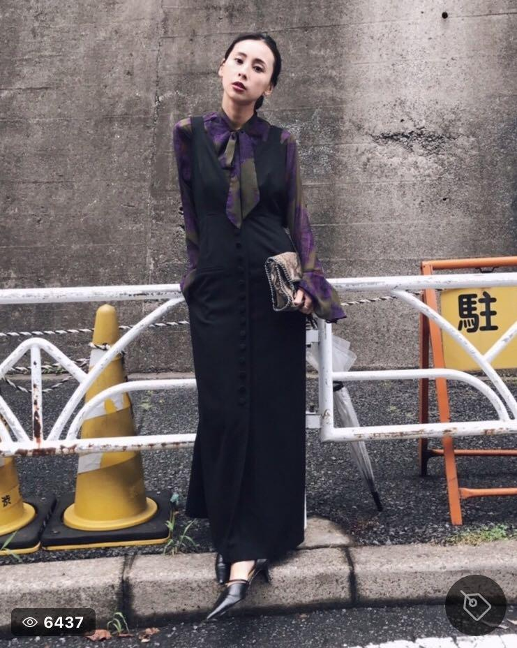 dfbff744eb240 メルカリ - もふ様 ameri vintage サロペットドレス  ロングワンピース ...