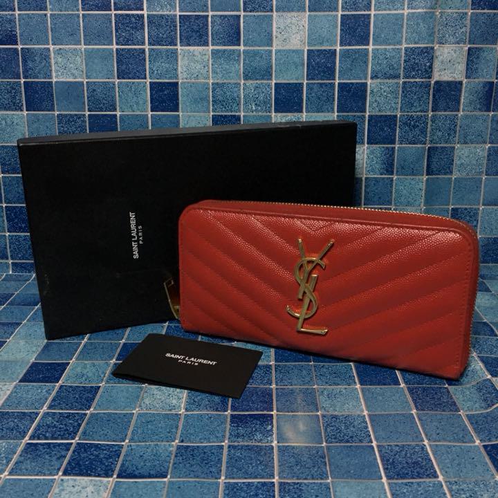 designer fashion fbe61 7843d SAINT LAURENT サンローラン 長財布 レッド 赤 YSLロゴ(¥23,800) - メルカリ スマホでかんたん フリマアプリ