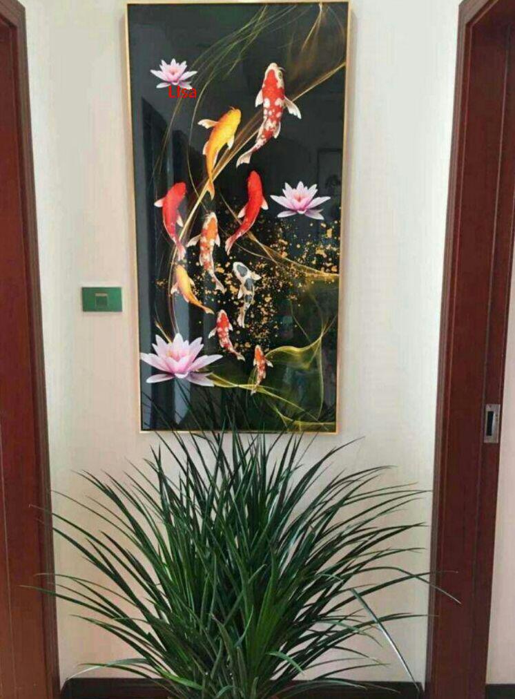 値下げ!【新品】福引きの鯉 リビングルーム装飾画 玄関装飾画P3