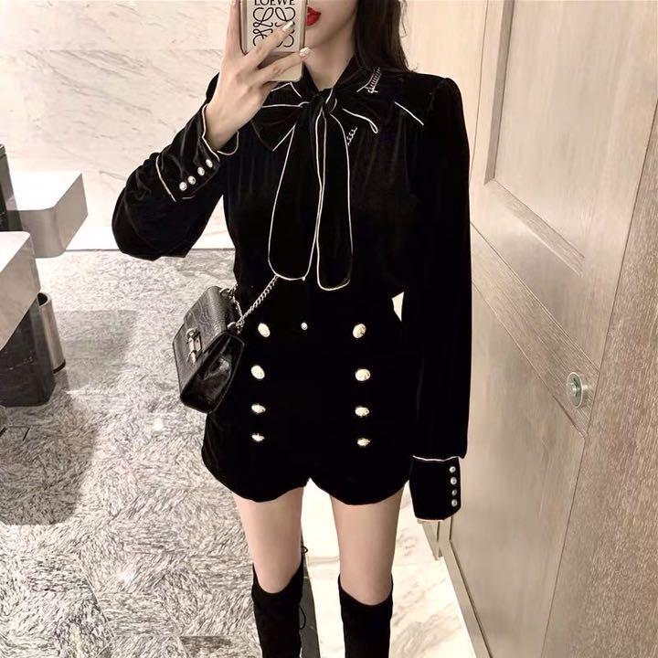 da2e7866db1811 メルカリ - 新品 春夏秋 レディース 黒セットアップ 【スカートスーツ ...