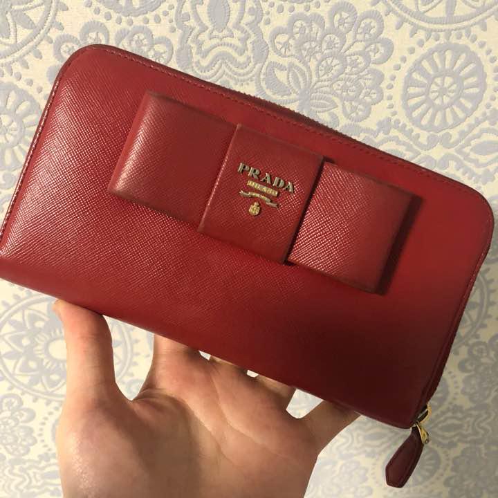 new product 5a2a4 5a517 PRADA 長財布 赤 サフィアーノ リボン プラダ(¥4,600) - メルカリ スマホでかんたん フリマアプリ