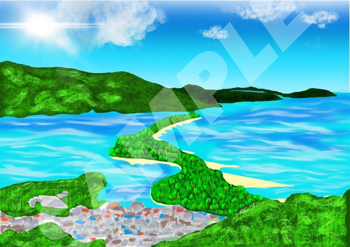 メルカリ イラスト フレーム無し 風景画 3点セット アート写真