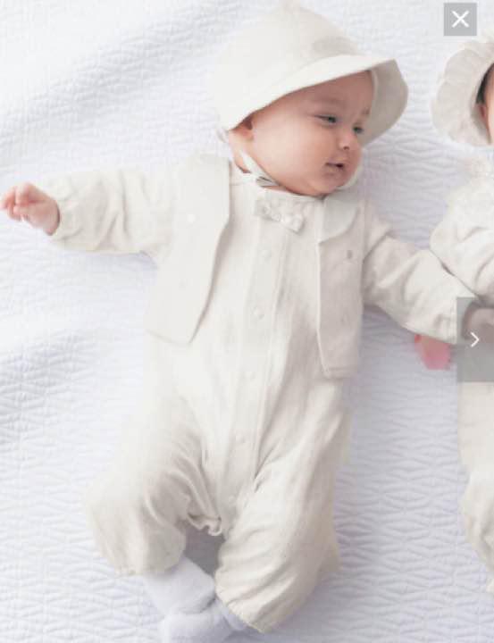bc46a665f2a4c  新生児・ベビーフォーマル 帽子付きレイヤード風セレモニーツーウェイオール