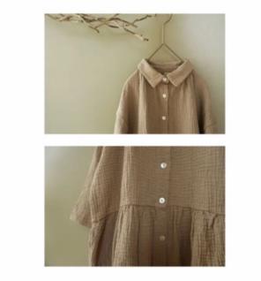 eed8b2dc673199 韓国子供服 ワッフルワンピース シャツワンピース ロングシャツ シャツワンピ