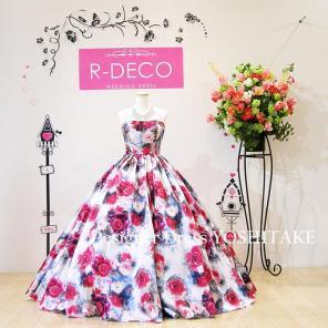 4b4400eac4856 ウエディングドレス(パニエ無料) オフホワイトベース 花柄ドレス 披露宴 二次会