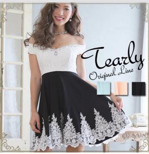 08a85d73bc418 TEARLY ティアリー 刺繍いりオフショルダードレス