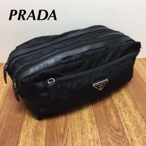 d1964dd80401 正規 プラダ メンズ ナイロン×レザー Wファスナー クラッチ セカンドバッグ