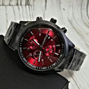 9aadb9f660 【海外限定】LAGMMEYBlack Stainless ワインレッド 腕時計