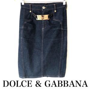 4bb3567ae857 DOLCE&GABBANAドルチェアンドガッバーナ バックル付 デニムスカート