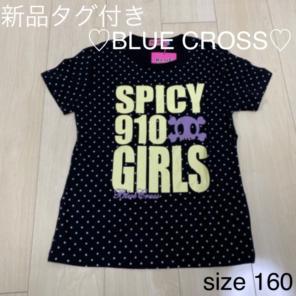 b434a5c032243 新品 ブルークロス 半袖Tシャツ 黒 ドット 黄色 水玉 パープル 紫