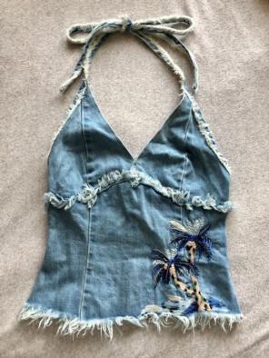 50c2b2b545c 美品 ケイタマルヤマ 刺繍 ホルターネック 椰子の木 ヤシの木刺繍 水色 ブルー