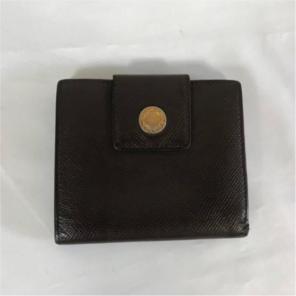 1835acf6f38f 本物ブルガリBVLGARI本革レザー二つ折り札入れ財布コインケースサイフ茶メンズ