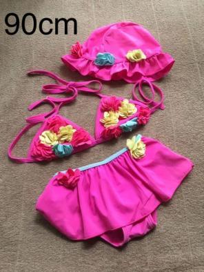 30f00cf0633 キッズ ベビー ビキニ 水着 花 ピンク 女の子 サイズ90cm 帽子付 ❁¨̮